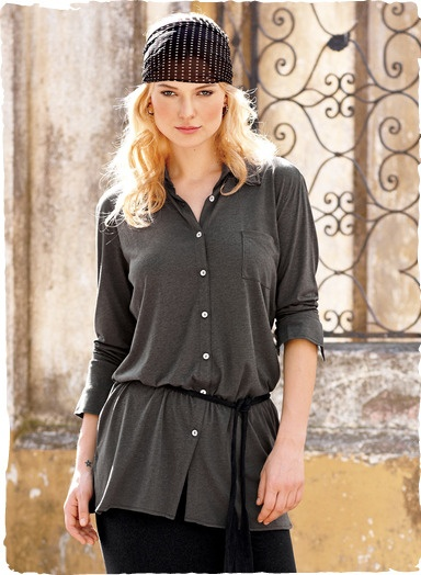 Contemporary separates in feather-light pima (51%) and modal (49%) jersey. Worn belted or free-falling, the drapy, button-down shirt has a single back pleat, shirt-tail hem and buttoning cuffs.