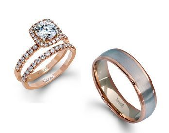 love these rose gold his and hers wedding rings - Simon G. Styles: MR2132 & LG116