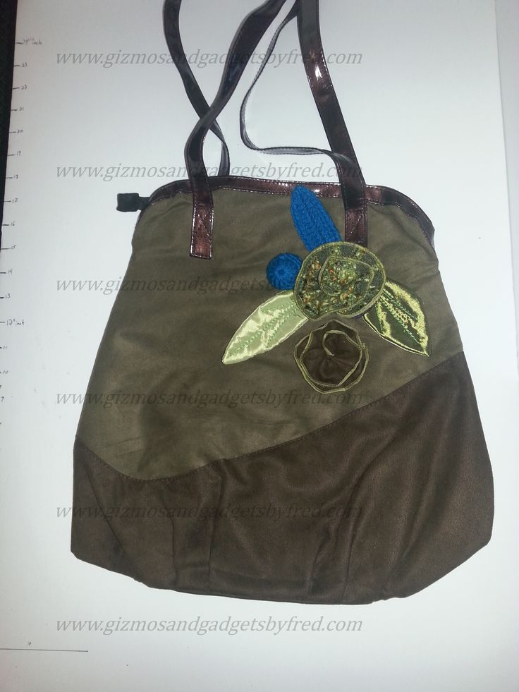 Magnificent Suede bag. Handmade. Brown. Available at www.gizmosandgadgetsbyfred.com