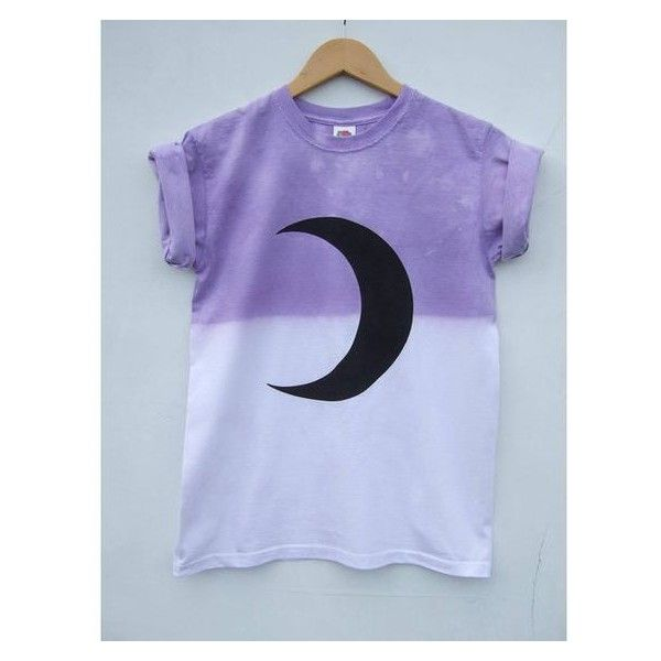Pastel Goth Moon Crescent Phase Grunge Top, Purple Dip Dye Tumblr Kawa ❤ liked on Polyvore featuring tops, gothic shirts, dip dyed shirt, purple shirt, goth tops and dip dye top