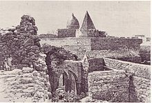 Engraving of the 13th century Fakr ad-Din Mosque built by Fakr ad-Din, the first Sultan of the Sultanate of Mogadishu.