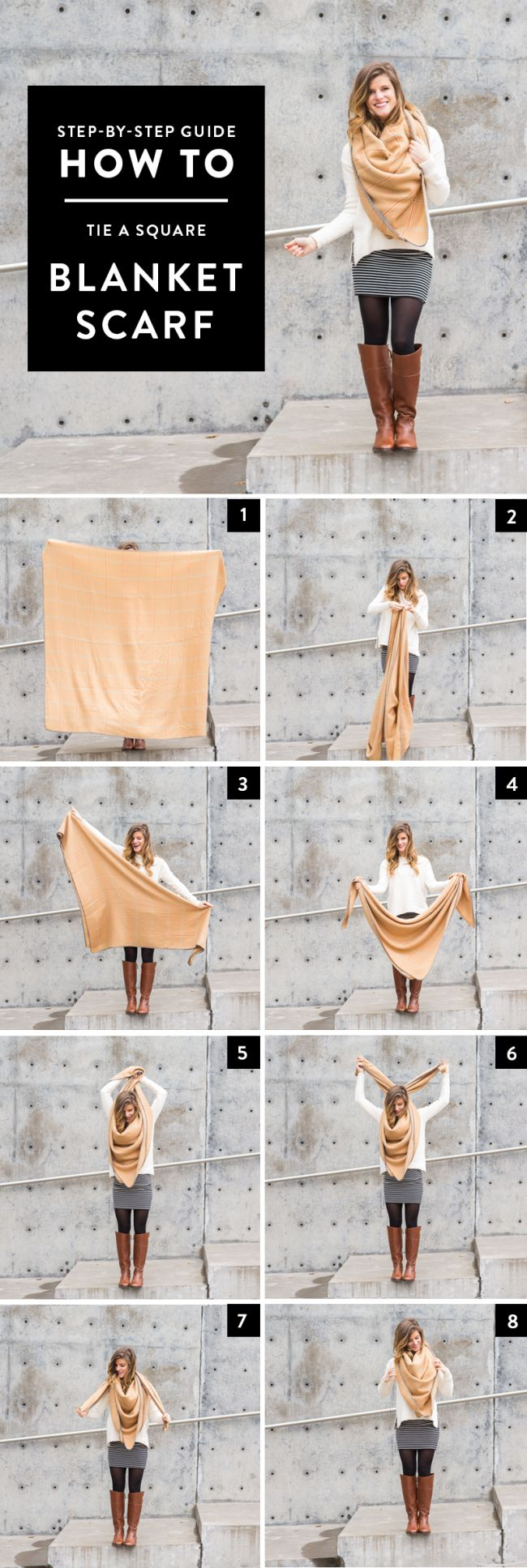 How to Tie a Square Blanket Scarf // step by step tutorial via brighton the day blog