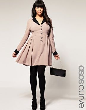 ASOS Curve Collar Dress with Scallop Detail.