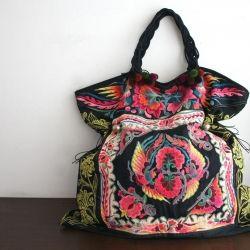 Handmade boho chic bag made using vintage embroidery.