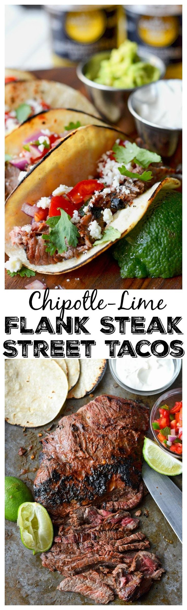 This Chipotle-Lime Flank Steak Street Taco recipe is perfect for your next taco Tuesday! Topped with a fresh pica de gallo that puts these babies over the top!