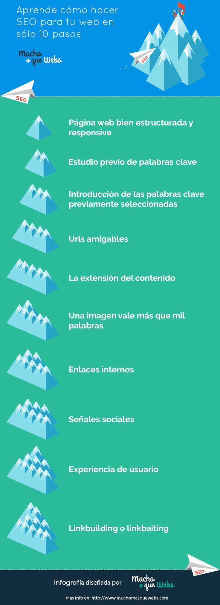 Infografia en castellano con 10 pasos para realizar el posicionamiento SEO de una web by @muchomasquewebs #seo #posicionamiento web #optimizacion en buscadores #search engine optimization #infografia