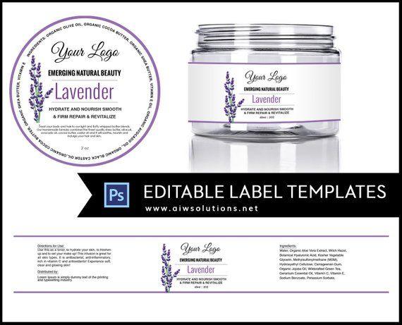 2oz jar label, 4oz label, 8oz label template, Skin Care