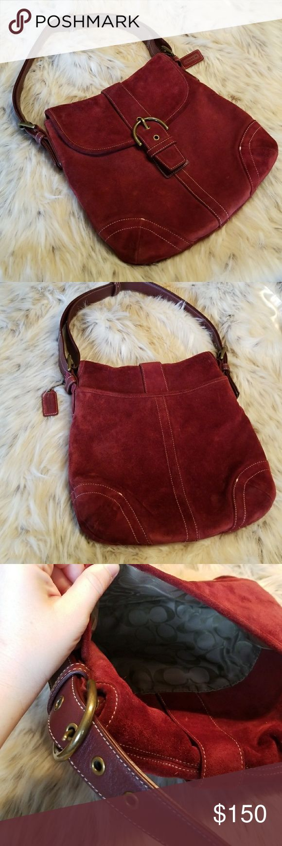 COACH VINTAGE SUEDE BURGUNDY CONVERTIBLE BAG 9482 Vintage Coach Rustic Red Suede Leather Buckle Front Shoulder Bag / Style 9482 / EUC This is a beautiful suede leather buckle bag by Coach. The suede is complimented with light contrast stitching. Suede bags are hard to find in good shape; this bag is in great vintage condition. No odors, stains, or leather damage atypical for a vintage bag (see pictures).This bag features a convertible strap to wear the bag as a Crossbody or a Shoulder Bag…