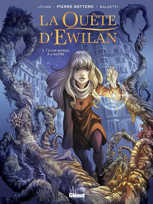 La quête d'Ewilan, T.1 D'un monde à l'autre de Lylian (d'après Pierre Bottero), illustré par Laurence Baldetti Glénat dans la collection La quête d'Ewilan