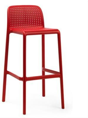 """Kirra"" Stackable Resin Outdoor Bar Stool 76cm in Red AU$169 - https://www.simplybarstools.com.au/products/kirra-stackable-resin-outdoor-bar-stool-76cm-in-red – Simply Bar Stools - Resin, fixed leg, counter height, bar stools. #Australia #Furniture"
