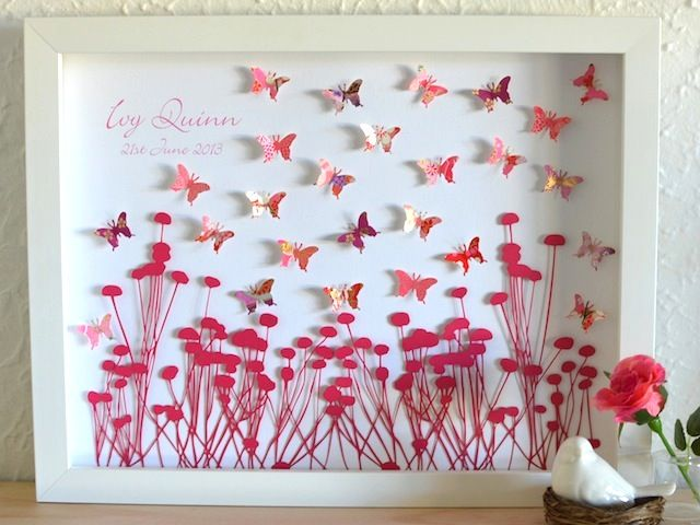 Field Of Dreams - Personalised Framed Paper Cut Artwork - Gorgeous New Baby and Christening GIfts - www.lovepaperscissors.com.au