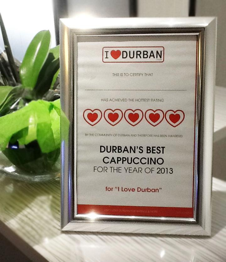 Durban's Best Cappuccino award for @Coffee Florida Road.
