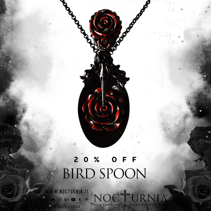 "Find our ""BIRD SPOON"" necklace 20% OFF only in our shop. Click here http://bit.ly/birdspoon Worldwide Shipping #nocturniait #blacksummersale"