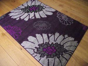 New Modern Purple Aubergine Silver Grey Floral Big Flowers 120x170cm Soft  Rugs