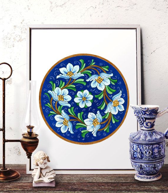 Vintage Blue Flower Watercolor Wall Art Floral by HermesArts