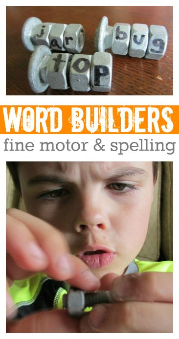 Spelling With Nuts  Bolts -- LOVE THIS for building fine motor skills!