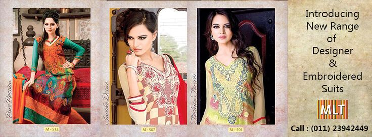 New digital print designer suits with neck and front threaded embroidery, double daman crosia with chandla, Dupatta with border
