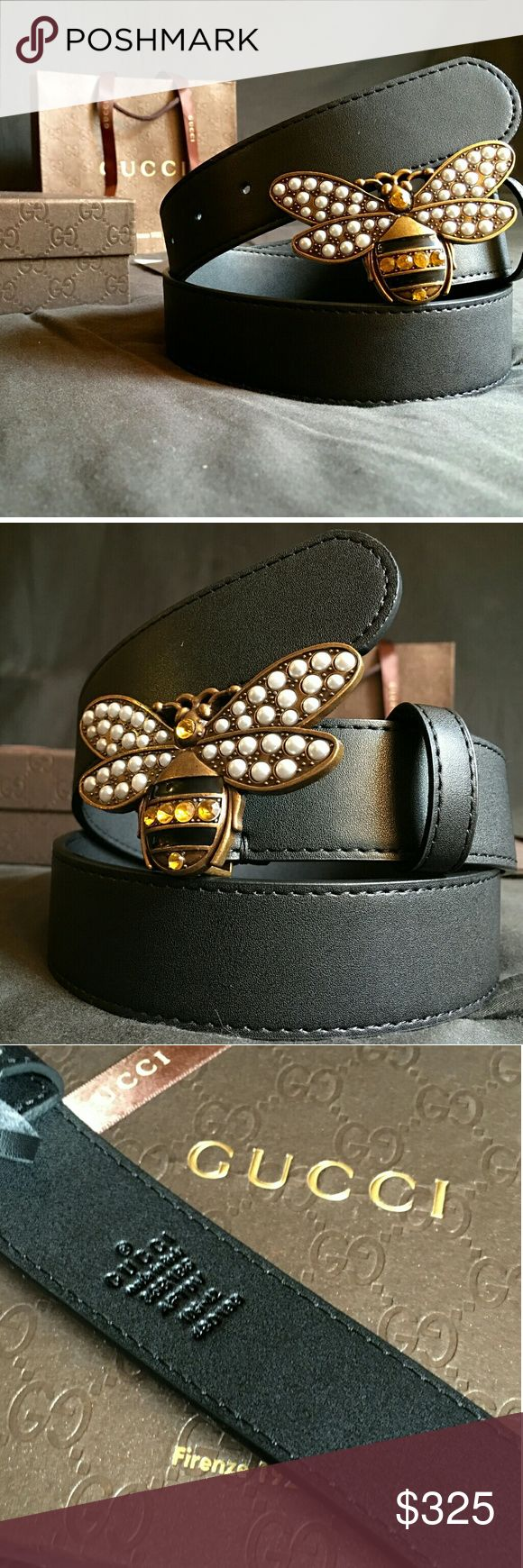 Gucci Bee Belt!!! Gucci Bee Belt W/ Pearl Buckle!!!  Brand New!!!  Unisex....For Man Or Woman!!!  Size Available - 32, 34!!!  Includes Gucci Belt, Gift Box, Dust Bag, Ribbon, Etc!!!  Great Gift Idea!!!  Last Available!!!  Check My Listings For Other Great Items!!!             Ignore: Gucci gg monogram casual dress belts men's women's guccissma leather monogram web tiger bee embossed panther wool cable knit blooms supreme print angry cat ufo dragon studded snake double g Gucci Accessories…