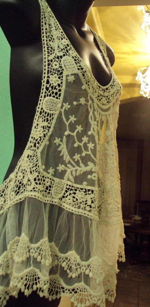 NWT NORDSTROM Crochet Lace Top Tank San Souci size S #SanSouci #TankCami