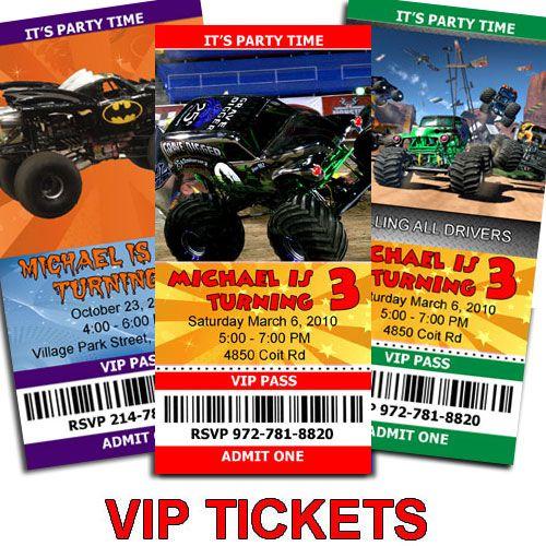 Monster Jam Trucks Birthday Ticket Invitations