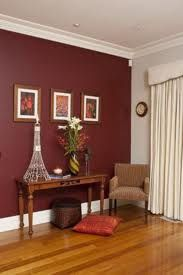Dark Red Feature Wall for dining room