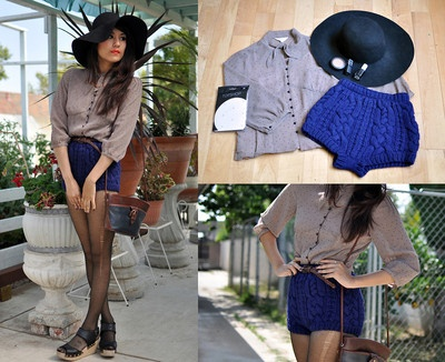 With a touch of blue: Vintage Blouses, Vintage Wardrobe, Sweaters Shorts, Girlfriends, Fashion Inspiration, Tights, Cable Knits Shorts, Buckles Pur, Cableknit Shorts