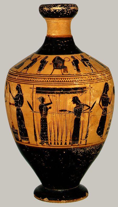 Lekythos, ca. 550–530 B.C.; Archaic, black-figure  Attributed to the Amasis Painter  Greek, Attic  Terracotta  H. 6 3/4 in. (17.15 cm)  Fletcher Fund, 1931 (31.11.10)