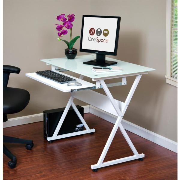 Onespace 38 In Rectangular White Computer Desk With Keyboard Tray 50 Jn1201 The Home Depot In 2020 White Computer Desk Small Computer Desk Glass Computer Desks