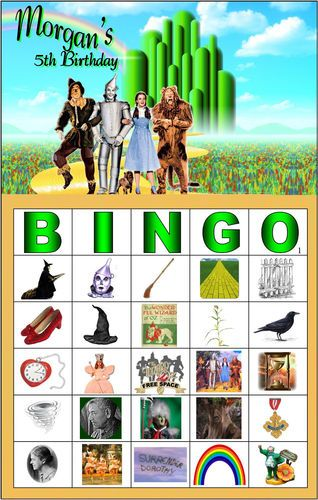 16 Card Personalized Party Favors Game Wizard of Oz BINGO Birthday Shower Invite