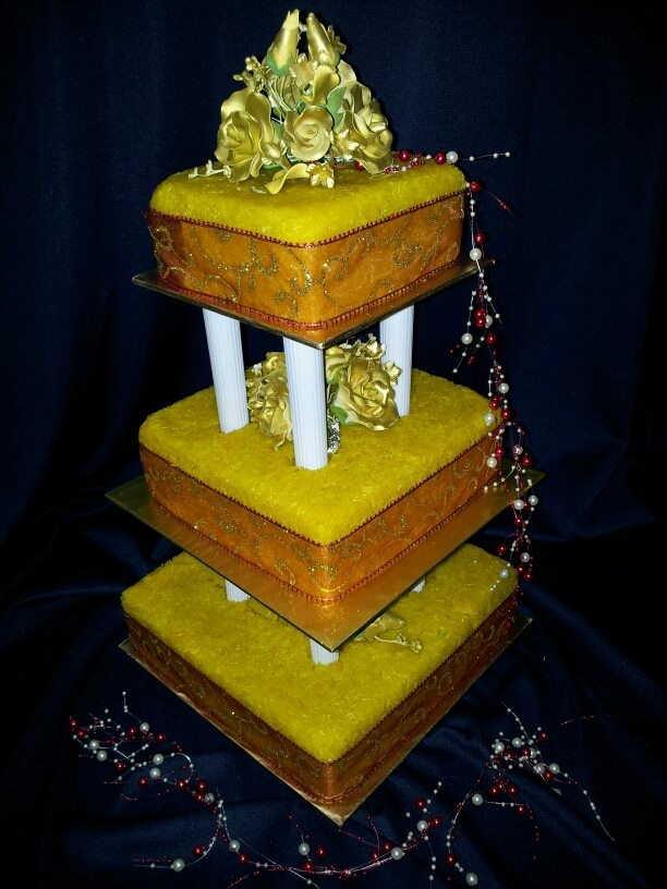 Gold & Red English Deco 3 -tiered Pulut Kuning...includes cake cutting management services and delivery services for selected destination