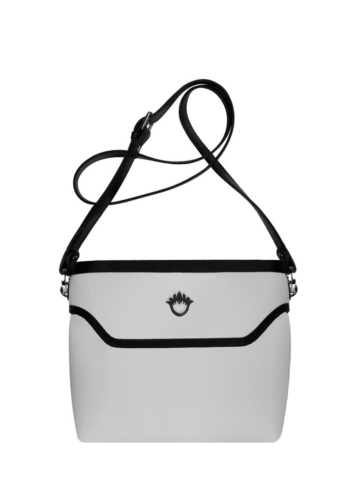 GOSHICO, ss2015, Flowerbag (cross body bag), light grey. To download high or low resolution product images view Mondrianista.com (editorial use only).