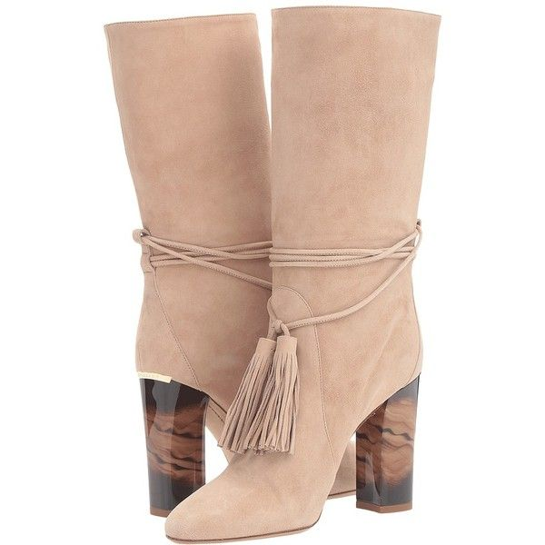 Burberry Winningham (Light Nude) Women's Boots ($1,000) ❤ liked on Polyvore featuring shoes, boots, ankle boots, slip on boots, bootie boots, short leather boots, pull on ankle boots and chunky heel ankle boots