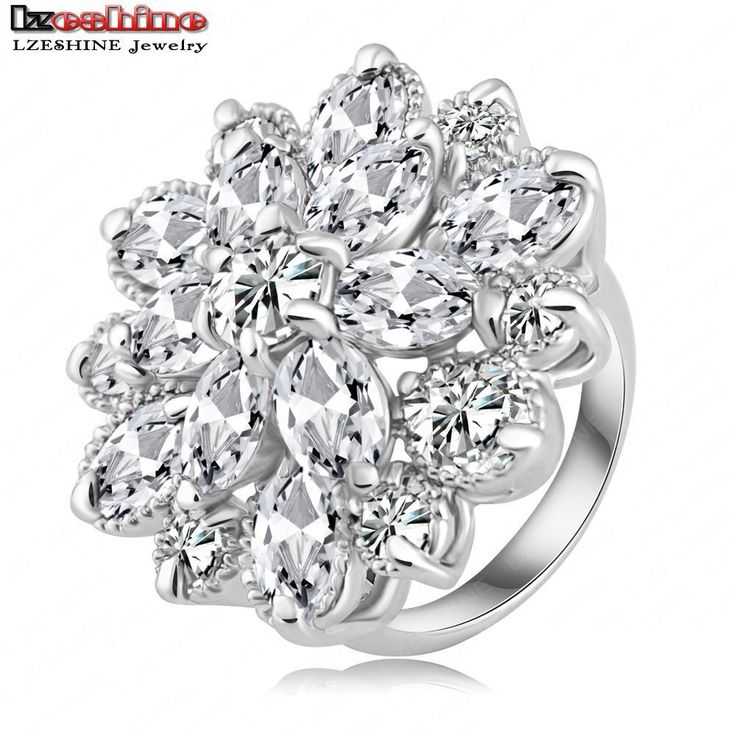 LZESHINE New Arrival Noble Flower Shape Engagement Ring Silver Plated AAA Cubic Zircon Rings Anillos Fashion Jewelry Ri-HQ0365