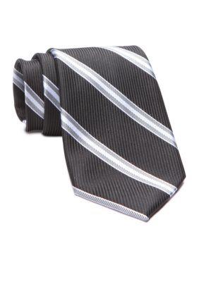 Saddlebred Men's Timmons Striped Tie - Black - Regular - 58 In.