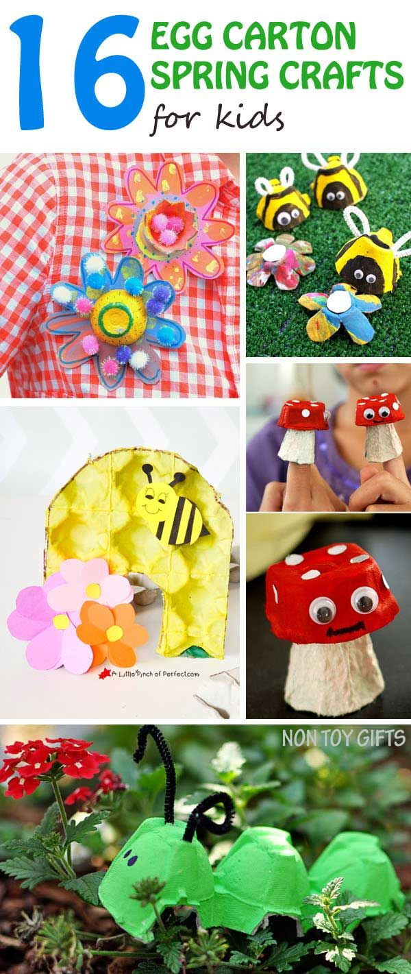 16 egg carton spring crafts for kids: bees, flowers, caterpillar, mushrooms, strawberries and more. Easy recycled crafts for preschoolers and kindergartners. |at Non Toy GIfts