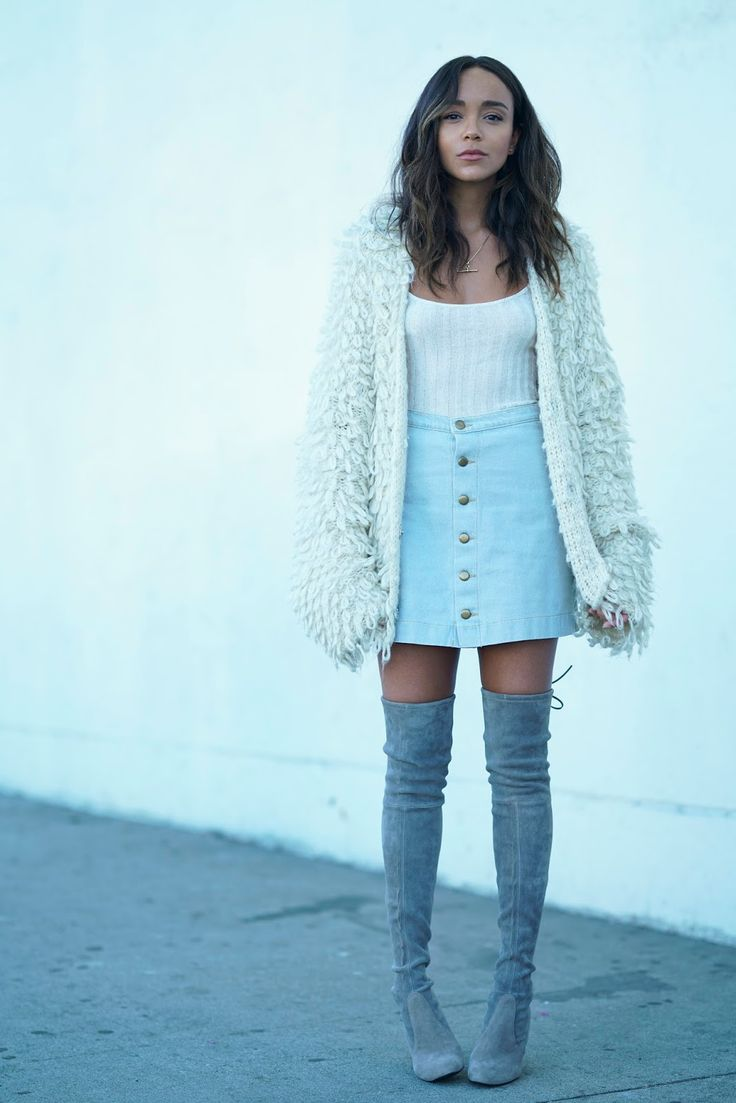 Skirt: American Apparel . Knitted Vest/Tank: Reformation. Boots: Stuart Weitzman .   Oversized Cardigan: Storets.     It's ca...
