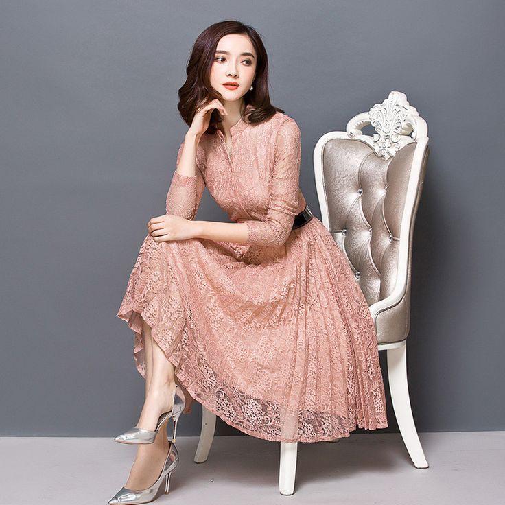 Women Shirt Lace Dress Autumn Elegant Vintage Office Dress Long Sleeve Vestido Mujer Crochet Floral Midi Party Dresses 3XL C3573 #Affiliate