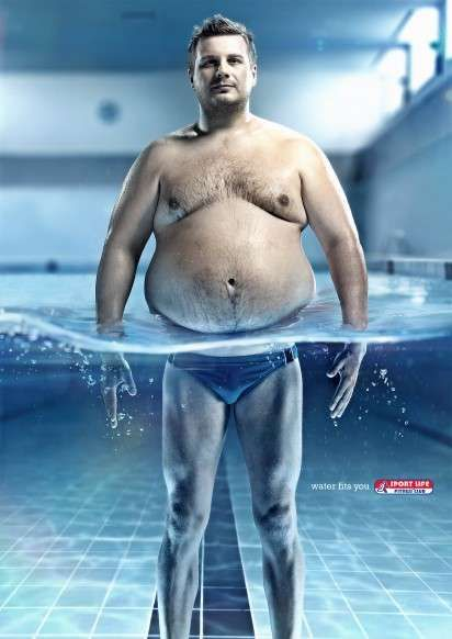 Aquatic Exercising Ads: The Sport Life Fitness Club Campaign Shows Bulging Bellies and Toned Thighs (by G2 Ukraine, Kiev, Ukraine)