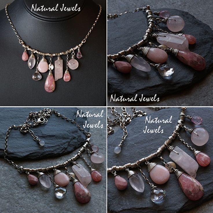 Zilveren handgemaakte halsketting Pink   HALSKETTINGEN EN HANGERS   NaturalJewels