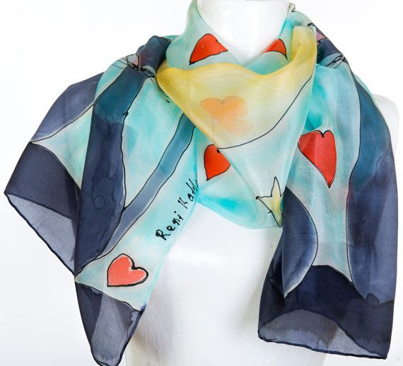 Hand Painted  Silk Scarf Cats under the Dome by KallenSilkScarves