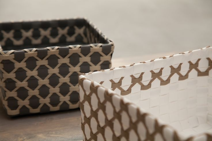 Basket Albi in  NEW dark grey with pale grey pattern and white with liver…