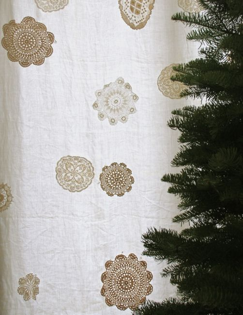 These are doilies on an old table cloth re-purposed as a curtain. Gives me an idea to use a doilie image for some transfer work-Snowflake curtain close up.