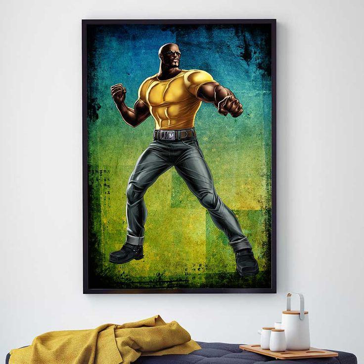 Luke Cage Print, Marvel Superhero Art, Luke Cage Poster, Hero For Hire, Power Man Decor, Marvel Comics Poster, Superhero Kids Decor (N480) by PointDot on Etsy