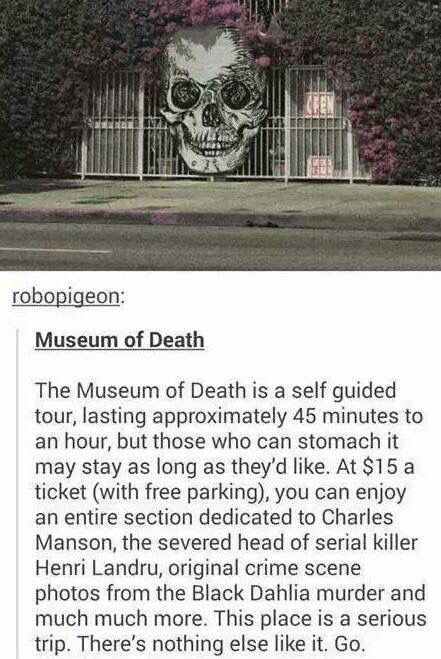 Museum of Death. In LA and NOLA. I don't know if I could handle this place, but my mom would probably love it