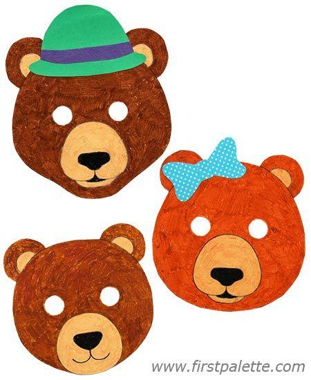 Bear masks and other free printable animal masks