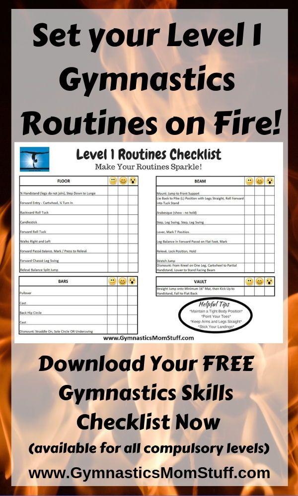 It S Time To Set Your Level 1 Gymnastics Routines On Fire Our Gymnastics Skills Checklists Help You Break Do Gymnastics Skills Gymnastics Routines Gymnastics