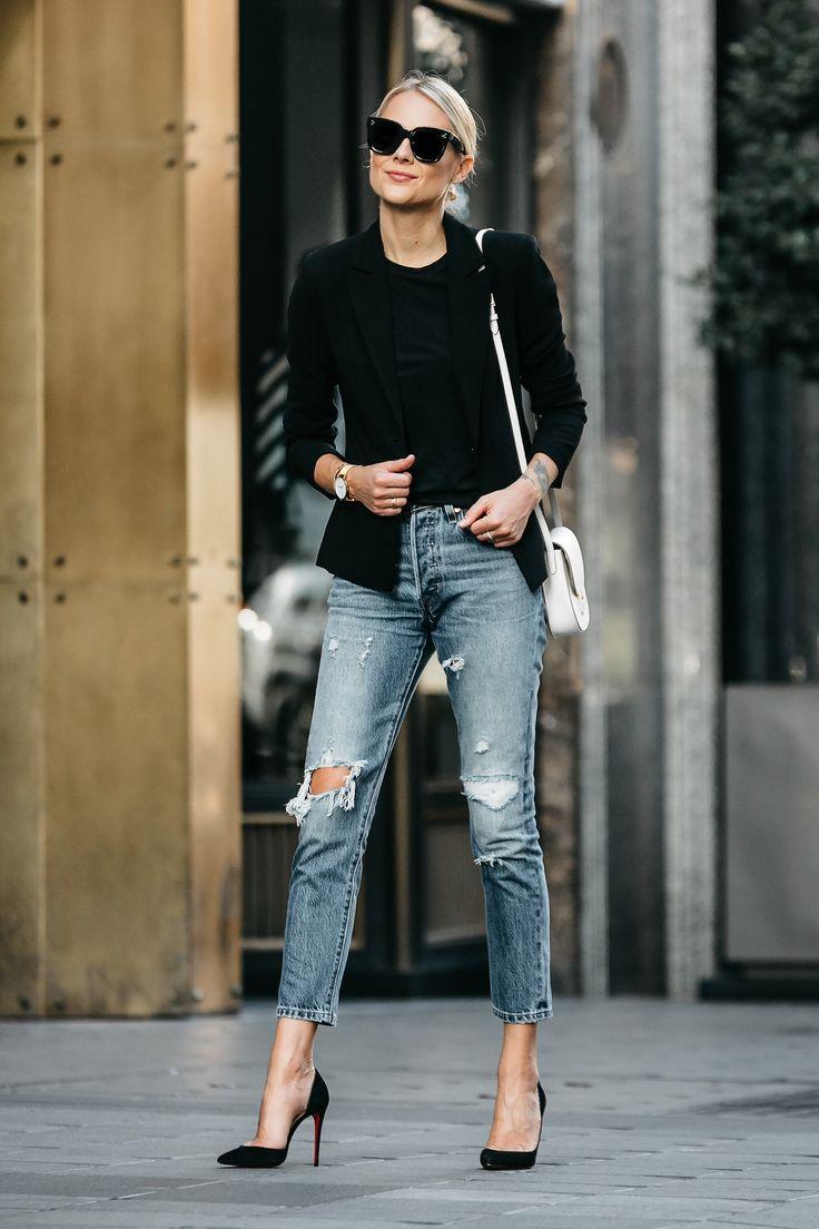 6522 Best Its A Pick Images On Pinterest Woman Fashion My Inside Flats Jeraldine Black Blonde Wearing Blazer Tshirt Denim Ripped Jeans Outfit Christian Louboutin Pumps Celine