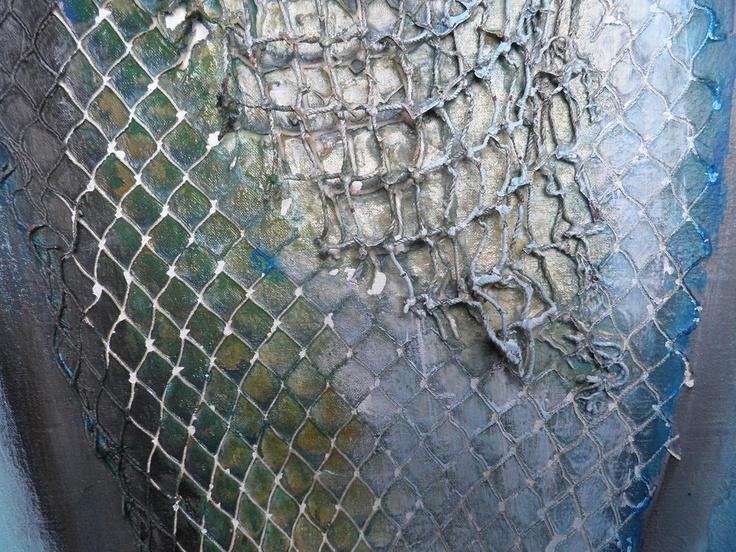 Detalle de pez con texturas de red y acrilicos pintura for Cuadros con peces