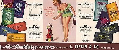 EARL MORAN PIN-UP GIRL VINTAGE WILKES-BARRE PA GRAPHIC BANKING ADVERTISING CARD