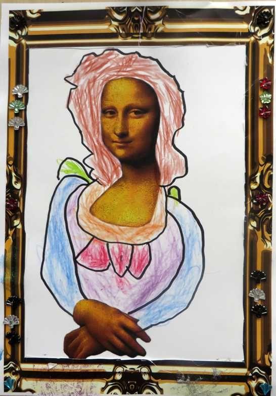 Mona Lisa, thema kunst voor kleuters, kleuteridee.nl , Art theme preschool 4. Met gratis download van template en lijst.